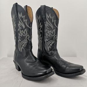 Ariat Men's 8D Black and Silver Leather Boots EUC